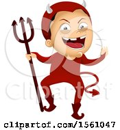 Clipart Of A Devil Boy Holding A Pitchfork Royalty Free Vector Illustration