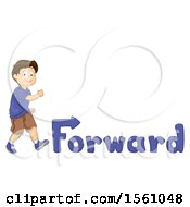 Clipart Of A Boy Walking Forward With Text Royalty Free Vector Illustration