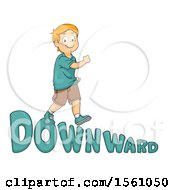 Boy Walking Downward On Text