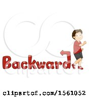 Boy Walking Backwards With Text