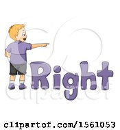 Boy Pointing To The Right With Text
