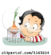 Clipart Of A Toddler Boy Growing An Onion Royalty Free Vector Illustration