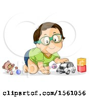 Clipart Of A Toddler Boy Playing With Toys Royalty Free Vector Illustration
