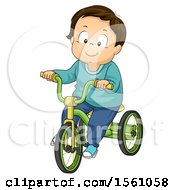 Clipart Of A White Toddler Boy Riding A Tricycle Royalty Free Vector Illustration