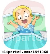 Clipart Of A White Toddler Boy Holding His Arms Up In Bed Royalty Free Vector Illustration