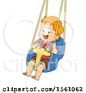 Clipart Of A White Toddler Boy Swinging Royalty Free Vector Illustration by BNP Design Studio