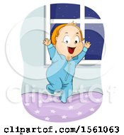 Clipart Of A White Toddler Boy Jumping On A Bed Royalty Free Vector Illustration