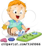 Clipart Of A White Toddler Boy Playing A Shape Game Royalty Free Vector Illustration