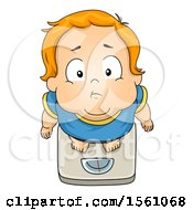 Poster, Art Print Of White Toddler Boy Standing On A Scale