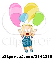 Clipart Of A Toddler Boy With Speech Bubbles Royalty Free Vector Illustration