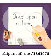 Clipart Of A Hand Writing Out Once Upon A Time On A Piece Of Paper Royalty Free Vector Illustration by BNP Design Studio