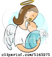 Clipart Of A Female Angel Holding A Newborn Baby Royalty Free Vector Illustration