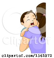 Clipart Of A Toddler Boy Crying And Being Held By His Mom Royalty Free Vector Illustration