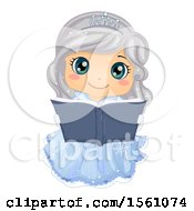 Clipart Of A Silver Haired Ice Princess Reading A Fairy Tale Book Royalty Free Vector Illustration