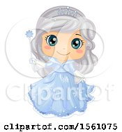 Clipart Of A Silver Haired Ice Princess Holding A Magic Wand Royalty Free Vector Illustration