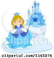 Clipart Of A Blond Ice Princess Curtsying Near A Frozen Castle Royalty Free Vector Illustration