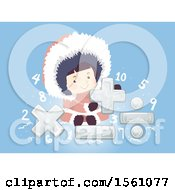 Clipart Of A Girl Eskimo With Ice Math Symbols And Nubmers On Blue Royalty Free Vector Illustration