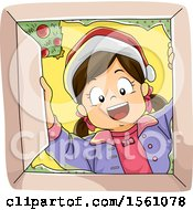 Clipart Of A Happy Girl Wearing A Santa Hat And Looking Into A Christmas Gift Box Royalty Free Vector Illustration