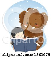 Clipart Of A Happy Ice Age Girl And Mammoth Reading A Book Royalty Free Vector Illustration