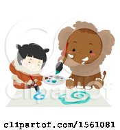 Clipart Of A Happy Ice Age Girl And Mammoth Painting Royalty Free Vector Illustration