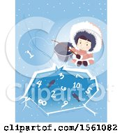 Clipart Of A Happy Ice Age Girl By An Ice Pond With Fish And Numbers Royalty Free Vector Illustration