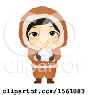 Clipart Of A Happy Eskimo Girl Holding A Snow Ball Royalty Free Vector Illustration