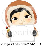 Happy Eskimo Girl Holding A Pencil And Blank Piece Of Paper