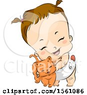 Poster, Art Print Of Brunette Toddler Girl In A Diaper Cuddling With A Ginger Cat