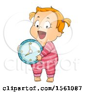 Poster, Art Print Of Brunette Toddler Girl In Pajamas Holding A Clock
