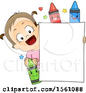 Clipart Of A Brunette Toddler Girl With A Blank Sign And Crayon Characters Royalty Free Vector Illustration