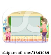 Teacher And Girl By A Blank Projector Screen