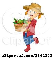 Clipart Of A Red Haired Farmer Girl Carrying A Basket Of Produce Royalty Free Vector Illustration