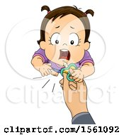Clipart Of A Brunette Toddler Girl Reacing Up For A Pacifier Royalty Free Vector Illustration
