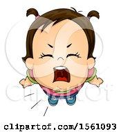 Poster, Art Print Of Brunette Toddler Girl Shouting