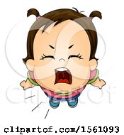 Clipart Of A Brunette Toddler Girl Shouting Royalty Free Vector Illustration