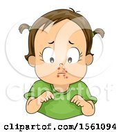 Clipart Of A Brunette Toddler Girl With A Skin Infection On Her Face Royalty Free Vector Illustration