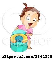 Clipart Of A Brunette Toddler Girl By Her Potty Chair Royalty Free Vector Illustration