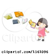 Girl With Books Flying From A Tablet