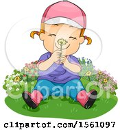 Clipart Of A Red Haired Toddler Girl Smelling A Flower Royalty Free Vector Illustration