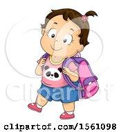 Poster, Art Print Of Brunette Toddler Girl Wearing A Backpack