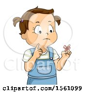 Clipart Of A Brunette Toddler Girl With A Reminder String On Her Finger Royalty Free Vector Illustration