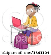 Clipart Of A Happy Black Girl Sitting On An Exercise Ball And Using A Laptop Royalty Free Vector Illustration