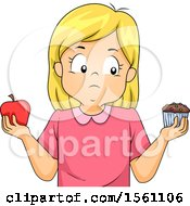 Blond White Girl Holding An Apple In One Hand And A Cupcake In The Other