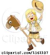Clipart Of A Blond White Girl Playing With A Stick Pony Royalty Free Vector Illustration