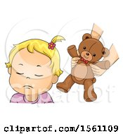 Clipart Of A Toddler Girl Refusing A Teddy Bear Royalty Free Vector Illustration