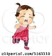 Clipart Of A Toddler Girl Running And Crying Royalty Free Vector Illustration