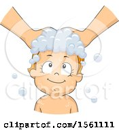 Clipart Of A Toddler Girl Getting Her Hair Washed Royalty Free Vector Illustration