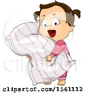 Clipart Of A Toddler Girl Hugging A Pillow Royalty Free Vector Illustration