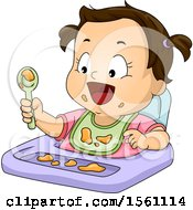 Clipart Of A Toddler Girl Eating A Messy Meal Royalty Free Vector Illustration