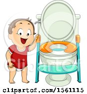 Clipart Of A Toddler Girl By A Training Toilet Royalty Free Vector Illustration